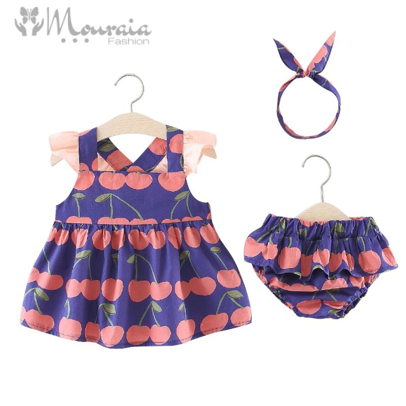 Baby Girl Cherry Print Tops and Shorts with Headband
