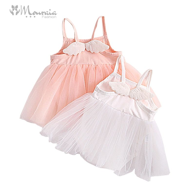 New Baby Girl Dress with Wings 1 Year Birthday Dress Romper Cotton Tulle Baby Dresses Girl Clothes Christening Baptism Dress