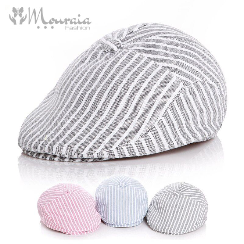 Cotton Linen Baby Hat Kids Beret Cap for Boys Adjustable Baby Boy Hat Striped Vintage Baby Cap for Girl Boy Children Hats 50/52