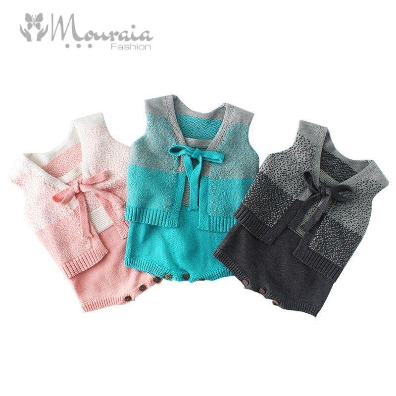 New Knitted Kids Clothes Set Cotton Coat and Romper Clothing for Baby Girl Clothes Spring Autumn Infant Suit Baby Boy Outfit