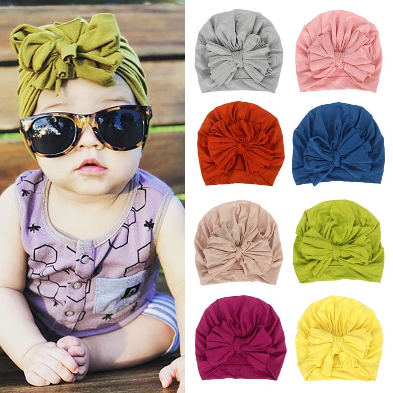 16 Colors Baby Hat Cotton Bow Turban Hat Baby Photography Props Kids Beanie Infant Accessories Baby Cap for Girls Boy Child Hats