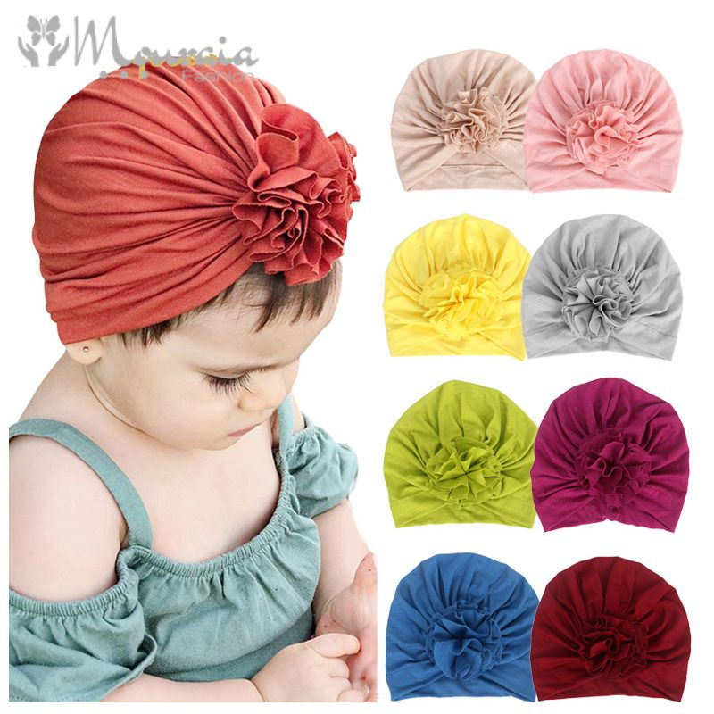 New Baby Girl Hat Cotton Turban Hat Infant Photography Props Kids Beanie Baby Hat Accessories Baby Cap for Girls Hats 16 Colors