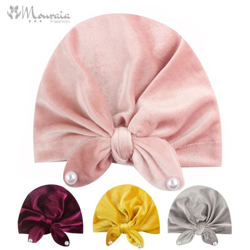 New Baby Hat for Girls Ears Velvet Baby Girl Hat with Pearls Infant Photography Props Elastic Turban Hats Kids Beanie Baby Cap