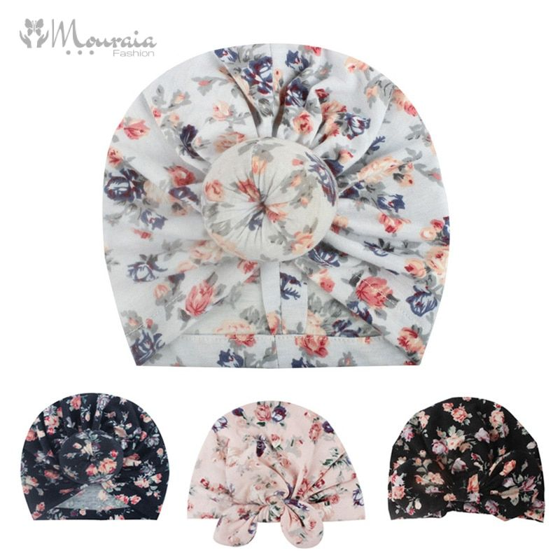New Floral Baby Hat for Girls Cotton Baby Turban Beanie Hats Toddler Photography Props Newborn Beanie Cap Infant Accessories